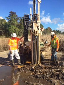 contractors test for creosote contaminants near the Brunswick River